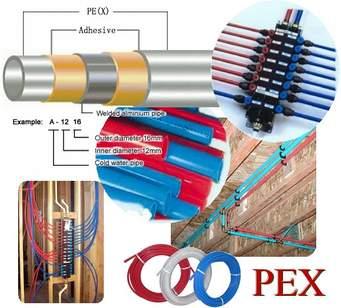 Examples of Pex-Al-Pex brand pipping